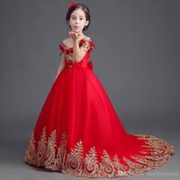 Flower Girls Robes Free shipping longue rouge robes traînante filles pour les robes fête et mariage Filles