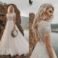 2020 nueva llegada vestidos de novia una línea de tul Volver hueco del cordón del barrido tren vestidos de novia de tul de Bohemia vestidos de boda Vestidos de novia