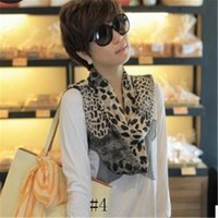 New Fashion Chiffon Leopard Print Silk Scarf For Women Multi...