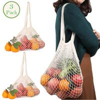 Alışveriş torbaları 3 Paketi Kullanımlık Örgü Çanta Yıkanabilir Pamuk Net Bakkal Tote Uzun Kolu Organizatör Meyve Sebze