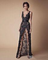 Черное кружево из бисера Разделить выпускной вечер Pageant платье Modest Моды V-образный вырез Sexy Полной длиной Берты вечер Повод платье pd018