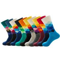 10 paires / Lot dégradé coloré chaussettes de coton peigné Crew Automne Fashion Casual Chaussettes Homme Respirant Hip Hop Chaussettes
