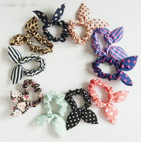 Niños bandas para el cabello lindo conejito conejo oreja elástica floral punto accesorios para el cabello tocado de color de caramelo scrunchy