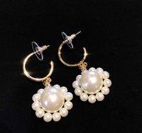 Les femmes Boucles d'oreilles perle d'été pour les femmes Belle Boucles d'oreilles géométrie du cercle Simulé Perle Boucles d'oreilles