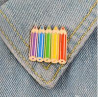 crayons de couleur émail Pin Enfance douce Broche écusson mignon Épinglette Denim shirt col Cartoon Bijoux enfants cadeau filles ami GD216