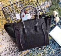 Newset Ladies Trapeze Tote Handbag Crocodilo Grain Suede real Couro Ombro Couro Bat Bag Purse Bag Boston Bolsa