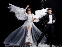 Weiße Feder Flügel Teufel Engel Halloween Flügel Laugstegmodell Cosplay T-STAGE Modenschau freies Verschiffen Requisiten