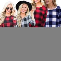 Le donne Plaid dress Primavera Autunno Designer o-collo a maniche lunghe swing ragazze Vestito a pieghe partito mini abito tunica T-shirt LJJA3455-4