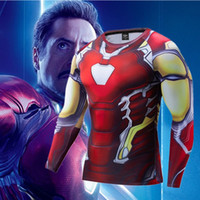 2019 New Endgame Iron Man T-Shirt 3D Marvel Compression manica lunga Dry Fit Sport Tshirt Running Abbigliamento