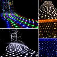 크리스마스 LED 넷 라이트 4m x 1.5m 300 Led 커튼 문자열 빛 실내 옥외 정원 홈 파티 휴일 장식 빛 110V 220V