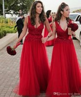 2019 Sexy Red Long Bridesmaid Dresses Deep V Neck Lace Sequi...