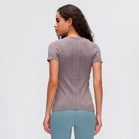 Afk-Lu35 Mulheres Yoga Camisetas Manga Curta Respirável Cor Sólida Gym Esportes Outwork Wear With Logo Alta Qualidade