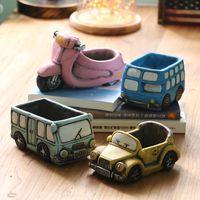 Cartoon Keramik Vase Sukkulenten Mini Blumentopf Garten Vintage Auto geformte Blumentopf Home Office Dekoration XD23195