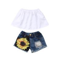 Baby Girl Ropa de verano Set 2019 Moda 2 piezas Trajes sin mangas con volantes Cuello Crop Tops + Girasoles Conjunto de pantalones cortos de agujero rasgado