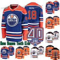 40-jähriges Jubiläum James Neal Trikot Edmonton Oilers Kris Russell Adam Larsson Jujhar Khaira Mikko Koskinen Mens Lady Jugend Hockey Trikots