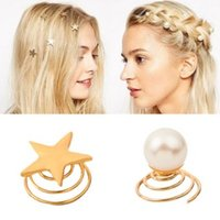 360pcs/lot DIY Pentagram Pearl Golden Spring Clip Bride Screw Clips Simple Personality Accessories Hair Care & Styling HA552