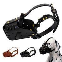 Couro ajustável Dog focinheiras Anti Bark mordida Máscara Pet Boca Protective Chew Dog Focinho Produtos Pet para cães grandes pastor alemão Pitbull