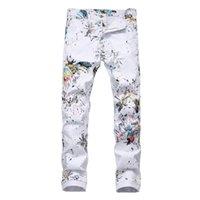 Jeans masculino dragão impresso branco moda magro fit colorido pintado trecho lápis calças casuais