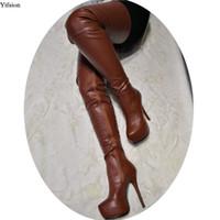 Rontic New Stylish Women Platform Over The Knee Boots Thin High Heel Boots zapatos de vestir de camello con punta redonda mujer más el tamaño de los Estados Unidos 5-15