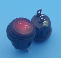 200Pcs Wasserdichtes Ein-Aus 3Pin rote Lampe runder Wippschalter 10 (6) ein 250VAC