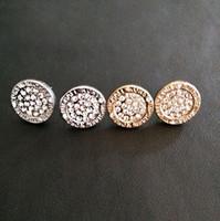 orecchini da sposa per le donne gioiello di cristallo rotondo borchie argento dorato orecchino donne orecchino anello di orecchio signora orecchini gioielli perno ragazza