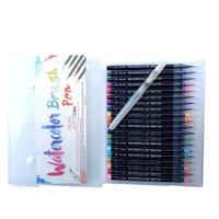 Suluboya Boyama Kaligrafi ve Çizim Başlangıç için İşaretçiler Boya Esnek Naylon BrushTips boyamak için gerçek Fırça Kalemler 20 Renkler