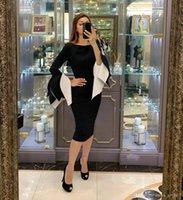 Nero elegante del cocktail Abiti a maniche lunghe Scoop Neck knee-lunghezza Abiti da sera Prom Dresses vesti de soirée Abendkleider