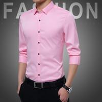 Männer Lässige Hemden Langarm Hochwertiger Baumwolle Nicht-Eisen-Shirt Groomsman-Anzug Slim Koreaner Mode Solide Farbe Wild