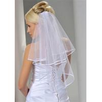 Женские свадебные вуали два слоя 2T Tulle ленты кромки свадебные вуали Короткие белые слоновые вуаль для свадебных аксессуаров Горячая распродажа