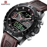 fe8f9c84758 NAVIFORCE Homens Multifuncionais Marca de Luxo Relógios Desportivos de  Quartzo dos homens LED Digital À Prova