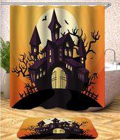 150 * 180см Хэллоуина Душа занавес Дух Тыква Луна ванная Душ занавес Мат водонепроницаемого полиэстер Штора с крюками GGA2829