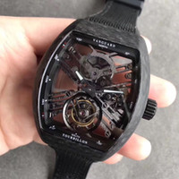 Hollowed-out VRAI Tourbillon Mouvement Mechanical Watch de 44 mm Catégorie de brasage de carbone Caoutchouffe de montre en caoutchouc en caoutchouc en cristal en cristal Saphir