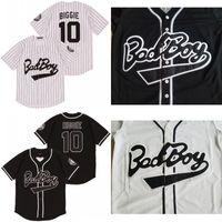 Biggie Smalls 10 Bad Boy White Baseball Jerseyには、パッチホワイトブラックファッションダブルステッチ高品質が含まれています