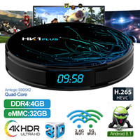 HK1 Plus Android 8.1 TV Box Avec H6 Quad Core CPU 4GB 32GB Streaming Media Player Support 2.4G Wifi