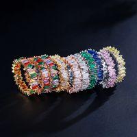 Multi Color CZ Anel de Zircão Pavimentado Anéis de Noivado de Casamento de Cristal Para As Mulheres Prata Banhado A Ouro Rosa de Ouro Jóias