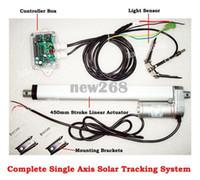 """Envío gratuito de alta calidad Kit de eje único Sistema de rastreador solar -450mm / 18 """"Actuador lineal Controlador electrónico para seguimiento de sol"""