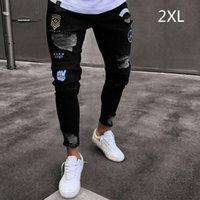 Erkek Kot Moda Erkekler Katı Yırtık Sıska Biker Fermuar Yıkılan Delik Yıpranmış Slim Fit Denim Kalem Pantolon