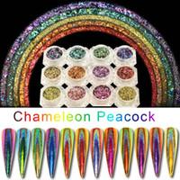 1box Peacock Holographic Chamäleon Nail Pailletten Bunte Laser Nagel-Funkeln-Puder-Staub-Nagel-Kunst-Dekorationen Pigment