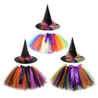 attività di Halloween Costume Gonna colore dell'arcobaleno Strega dei bambini del vestito di prestazione del vestito + Hat Festival giocano Tutu Skirt colore dell'arcobaleno