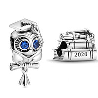 New Wise Owl and 2020 Graduation Books Charms 925 Sterling Silver Charm Fit Beads braceletes Colar DIY Para Mulheres Jóias 798910C00