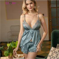 honda parte posterior del cordón desnudo femenino traje de simulación del sueño en casa la ropa pijamas de seda de hielo casa
