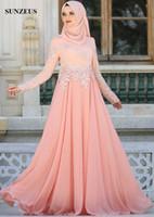 Uzun Kollu Müslüman Abiye Arapça Kadınlar Zarif Uzun Şifon Örgün Abiye Aplikler Ile Lange Jurk