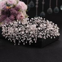 Otros TopQueen HP286 Accesorios para el cabello de la boda para el príncipe nupcial Crown Rhinestone Diadema de la joyería de la flor