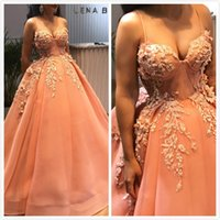 2019 Arabic Beaded Lace Evening Dresses Spaghetti Tulle Ball...