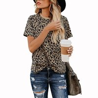 2020 Women Leopard Top Bottom T Shirt Short Sleeve Casual Te...