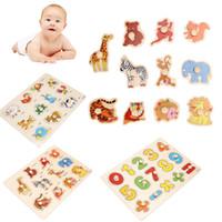 5 Estilos Kid temprano los juguetes educativos del bebé asimiento de la mano de madera del rompecabezas del alfabeto del dígito Animal Rompecabezas