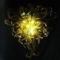 무료 배송 입 풍선 / 120V 110V LED 전구 홈 인테리어 노란색 무라노 유리 샹들리에 주도 크리스탈 천장 램프