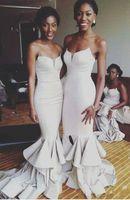 Ruches longue sirène Bridemaids Robes 2019 Nouveau chérie avant divisée balayage Strain manches robe de bal de mariage Robes de demoiselle d'honneur