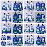 Freies kundenspezifisches Vancouver Canucks Hockey Jerseys 33 Henrik Sedin 22 Daniel Sedin 14 Alex Burrows 3 Kevin Bieksa 16 Trevor Linden Ryan Miller