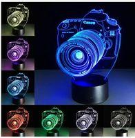 الهدايا الجدة 3D الاكريليك الترفيه الكاميرا وهم LED مصباح USB ضوء الجدول RGB الخفيفة ليلة رومانسية السرير مصباح الديكور